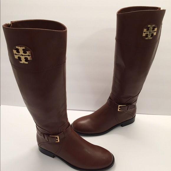 ddffe95ec7e9 Tory Burch ADELINE Leather Tall Riding Logo Boots.  M 5b6ff85b035cf1a08ead0e05